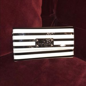 KATE SPADE black & white striped patent wallet